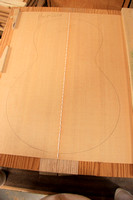 The old, wide grained, Sitka Spruce top glued together